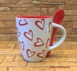 Bögre kerámia SZÍV + kiskanál fehér, szerelem piros