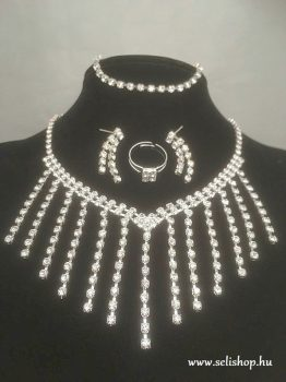 Nyaklánc -  fülbevaló - karkötő - gyűrű szett EMILY strasszköves