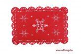 Asztali terítő tányéralátét HÓPEHELY filc 45 cm  piros