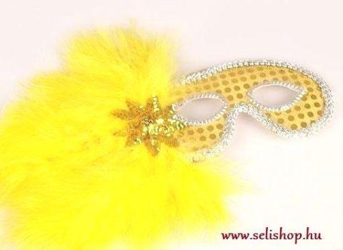 Jelmezbál tollmaszk GLORIA sárga szilveszter