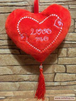 Díszpárna plüss SZÍV - LOVE ME felirat, 15 cm piros
