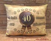 Díszpárna textil SZÜLETÉSNAP Évszámos 40-es Örök Ifjú sárga barna