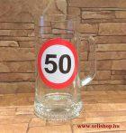 Korsó SZÜLETÉSNAP 50-es évszámos ajándék, vicces sörös pohár 0,33 l