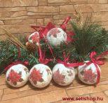 Karácsonyfadísz MIKULÁSVIRÁG gömb 6 db