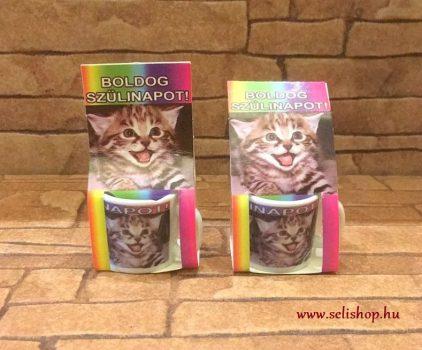 MINI bögre BOLDOG SZÜLETÉSNAPOT macskás