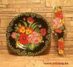 Süteményes - torta tál VIRÁGCSOKOR + lapát virágos női ajándék (piros)