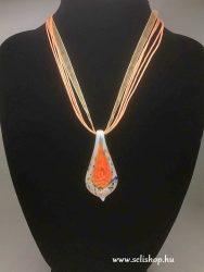 Nyaklánc ACHIMA (6) muranói jellegű üveg medál narancs sárga