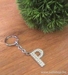 Kulcstartó BETŰ strasszköves P névnap ajándék