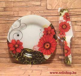 Süteményes - torta tál MARGARÉTA + lapát, virágos női ajándék (piros)