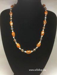 Nyaklánc ANISA kerámia és üveggyöngy narancs sárga