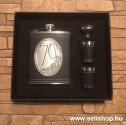 Flaska szett 70-es évszámos SZÜLETÉSNAP (1) óncímkés ajándék, díszdobozban