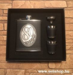 Flaska szett 80-as évszámos SZÜLETÉSNAP (1) óncímkés ajándék, díszdobozban