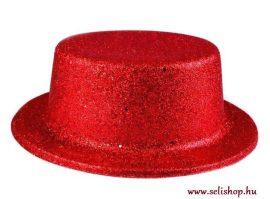 Jelmezbáli KALAP piros csillámpor, szilveszter