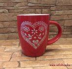 Bögre kerámia SZÍV szerelmes ajándék (piros)