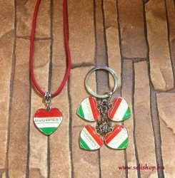 Nyaklánc - kulcstartó szett BUDAPEST piros