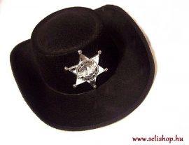 Jelmezbál SHERIFF KALAP fekete textil, szilveszter