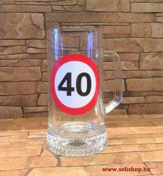 Korsó SZÜLETÉSNAP 40-es évszámos ajándék, vicces sörös pohár 0,33 l
