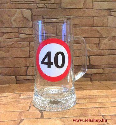 57b15c6df6 Korsó SZÜLETÉSNAP 40-es évszámos ajándék, vicces sörös pohár 0,33 l ...