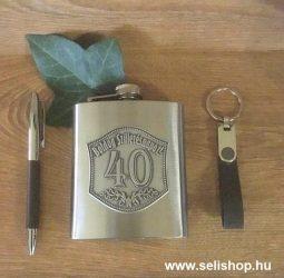 Flaska szett 40-es évszámos SZÜLETÉSNAP óncímkés + toll és kulcstartó