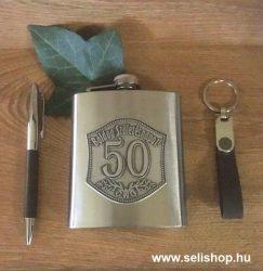 Flaska szett 50-es évszámos SZÜLETÉSNAP óncímkés + toll és kulcstartó