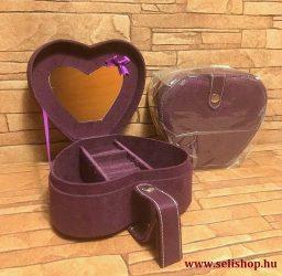 Ékszertartó doboz SZÍV lila