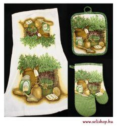 Konyhai textil szett FŰSZERNÖVÉNYES 3 részes zöld