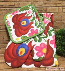 Konyhai textil szett MATYÓ 3 részes (festett mintás) magyaros ajándék