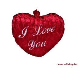 Díszpárna plüss SZÍV I Love You felirattal, szerelem 28 x 19 cm piros
