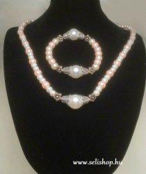 Nyaklánc-karkötő szett AMELIE fehér rózsaszín tekla