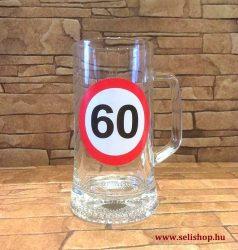 Korsó SZÜLETÉSNAP 60-as évszámos ajándék, vicces sörös pohár 0,33 l