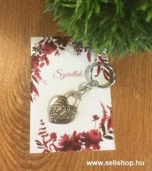 Kulcstartó SZERETLEK(1) szív, lakat, kísérő kártyával