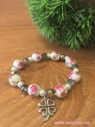 Karkötő CHARM SZERENCSE (6) női ajándék, rózsaszín, porcelán