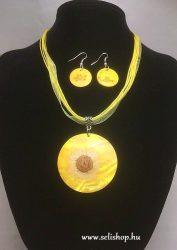 Nyaklánc-fülbevaló szett FLORINA virág sárga organza
