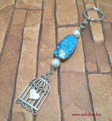 Kulcstartó MADELINE  kalitka szív szerelem medál kék türkiz