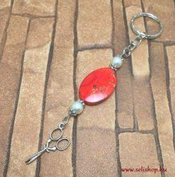 Kulcstartó MADELINE  olló medál fodrász piros