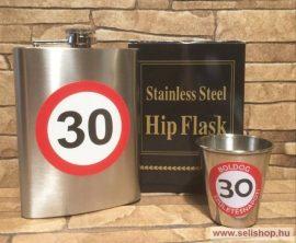 Ajándék szett - flaska kis pohárral, SZÜLETÉSNAP 30-as évszámos ajándékcsomag, laposüveg