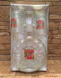 Pálinkás készlet, üvegpalack és pohár MATYÓ mintás (2) Magyar Pálinka felirat