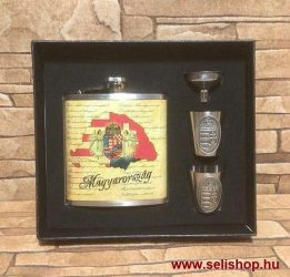 Fém flaska szett NAGY MAGYARORSZÁG laposüveg 180 ml