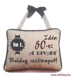 Díszpárna textil SZÜLETÉSNAP 50-es nosztalgia szülinap 24x19 cm