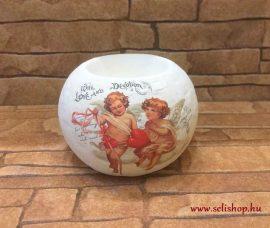 Karácsonyi mécsestartó ANGYAL kerámia gömb