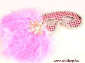 Jelmezbál tollmaszk GLORIA rózsaszín szilveszter