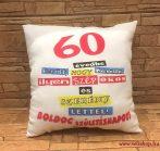 Díszpárna  SZÜLETÉSNAP 60-as (1) vicces évszámos ajándék fehér