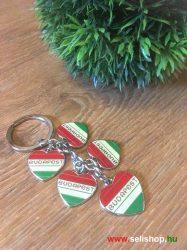 Kulcstartó BUDAPEST (1) szív, nemzeti színű, magyaros ajándék
