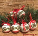 Karácsonyfadísz FAGYÖNGY gömb 6 db