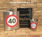 Ajándék szett - flaska kis pohárral, SZÜLETÉSNAP 40-es évszámos ajándékcsomag, laposüveg