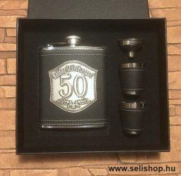 Flaska szett 50-es évszámos SZÜLETÉSNAP (2) óncímkés ajándék, díszdobozban