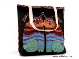 Táska textil MACSKA (3) gobelin 43 x 44 cm, nosztalgia női ajándék