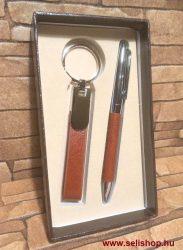 Ajándék szett BRADLEY (1) barna, műbőr, 2 részes férfi ajándék