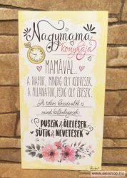 Hűtőmágnes - fa tábla NAGYMAMA  (1) vicces női ajándék