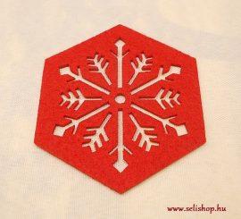 Karácsonyi poháralátét JÉGVIRÁG  filc 10 cm piros